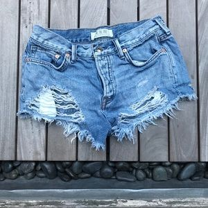 WE THE FREE Blue Distressed Ripped Denim Shorts